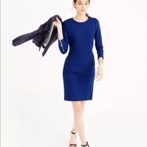 Jcrew structured knit zip dress blue 00